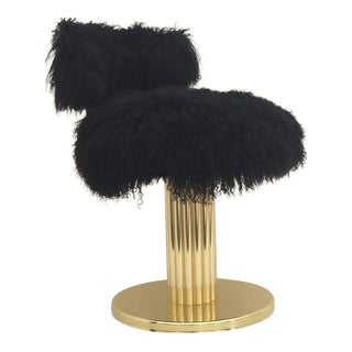 Brass Swiveling Vanity Chair in Black Mongolian Fur