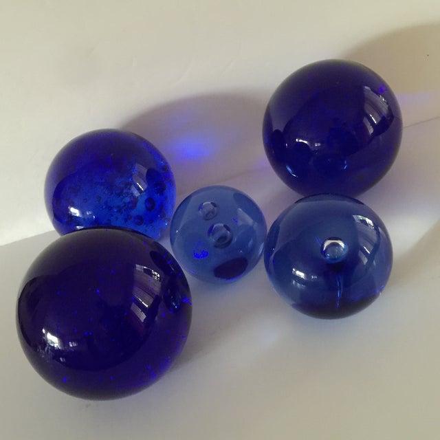 Blue Glass Bubble Balls - Set of 5 - Image 8 of 8