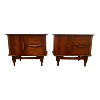 Mid-Century Walnut Night Stands / End Tables - A Pair