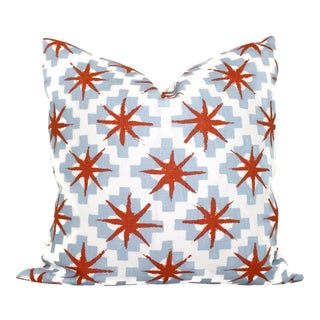 "20"" x 20"" Peter Dunham Blue & Red Stars Decorative Pillow Cover"