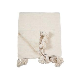Pom Pom White Silver-Lined Wool Blanket