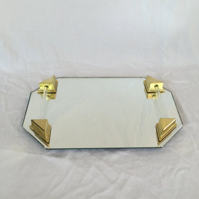 Vanity Tray With Lucite and Faux Brass Handles - Image 2 of 7