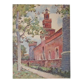 Vintage Lithograph Northern Italy, Milan