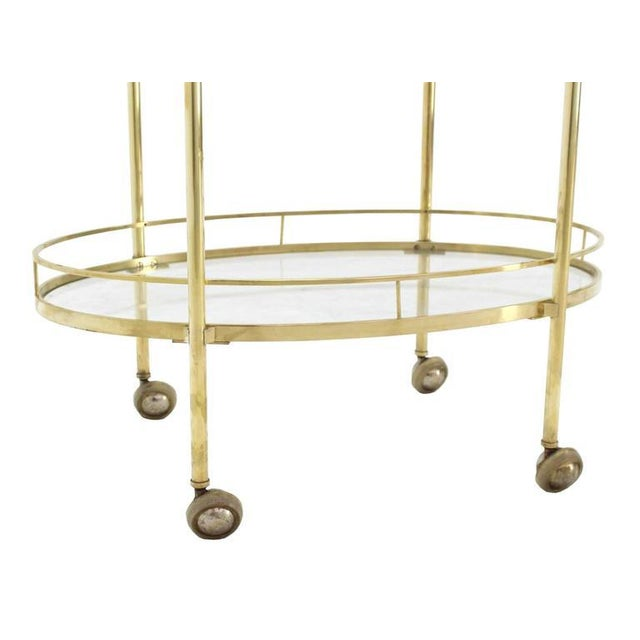 Three-Tier Brass Oval Tea Serving Cart - Image 7 of 8