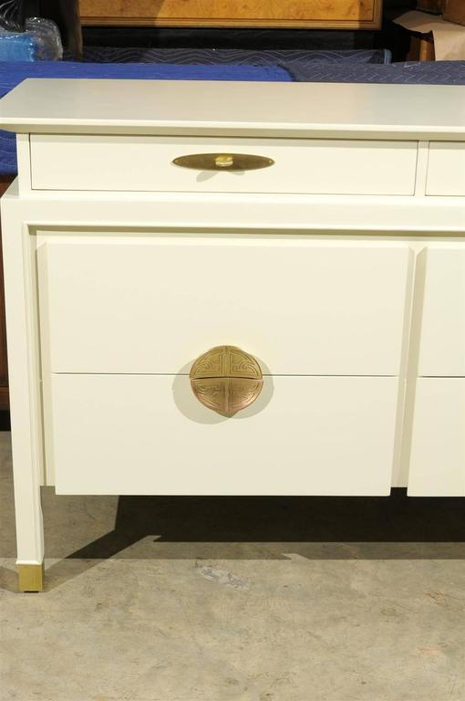 Restored Nine Drawer Chest By Johnson Furniture Company In Cream Lacquer    Image 6 Of