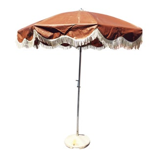 Mid Century Modern Brown & White Vinyl Umbrella