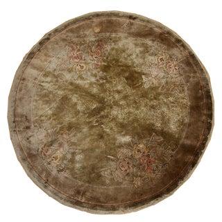 1980s Vintage Silk Art Deco Chinese Rug - 5′1″ × 5′1″