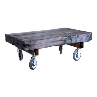 Industrial Trolley Yakisugi Wood Beam Coffee Table on Wheels
