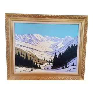 """1965 """"Winter in Aspen, Colorado"""" Oil on Canvas Board by Leonard Dobratz"""