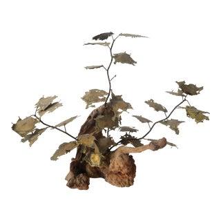 Vintage Metal Grape Leaf Sculpture