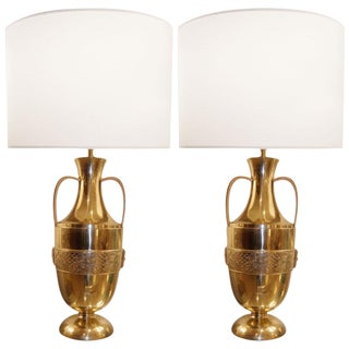 Pair of French Bronze Urn Lamps