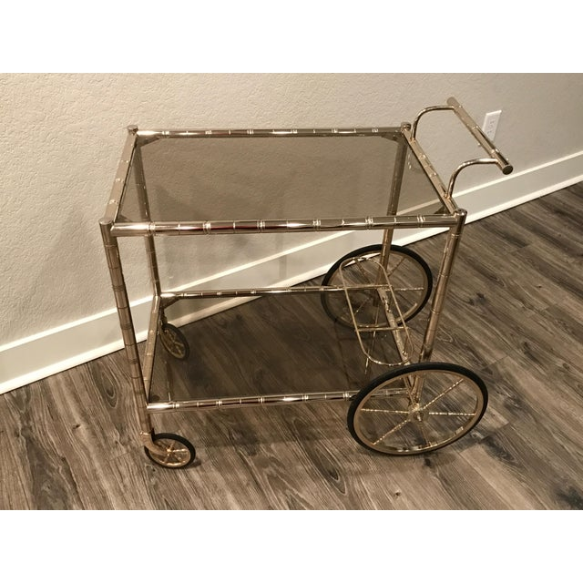European Bar Cart With Bamboo Accents - Image 4 of 8