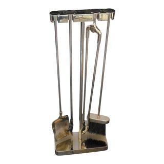 Virginia Metal Crafters Modernist Nickel Fire Tool Set