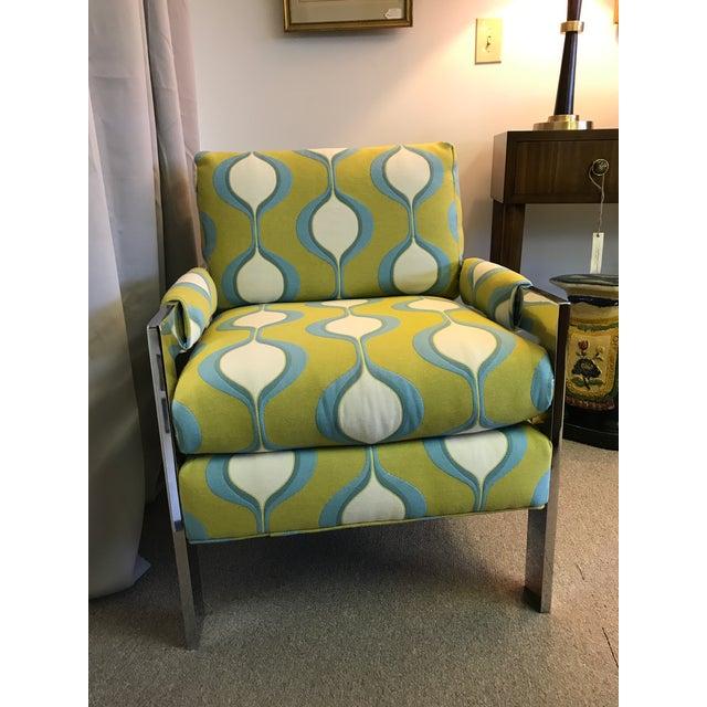 Mid-Century Chrome Milo Baughman Style Chair - Image 2 of 7