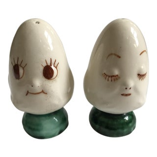 Vintage Egg Head Salt and Pepper Shaker Set