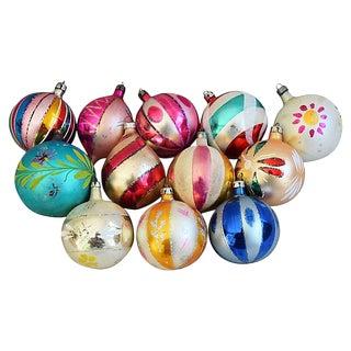 Vintage Fancy Christmas Tree Ornaments w/Box - Set of 12