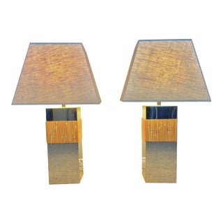 Paul Evans Rattan & Chrome Table Lamps - A Pair