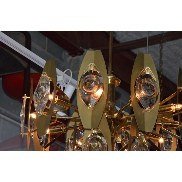Brutalist Sonneman Brass and Cut Glass Chandelier - Image 6 of 6