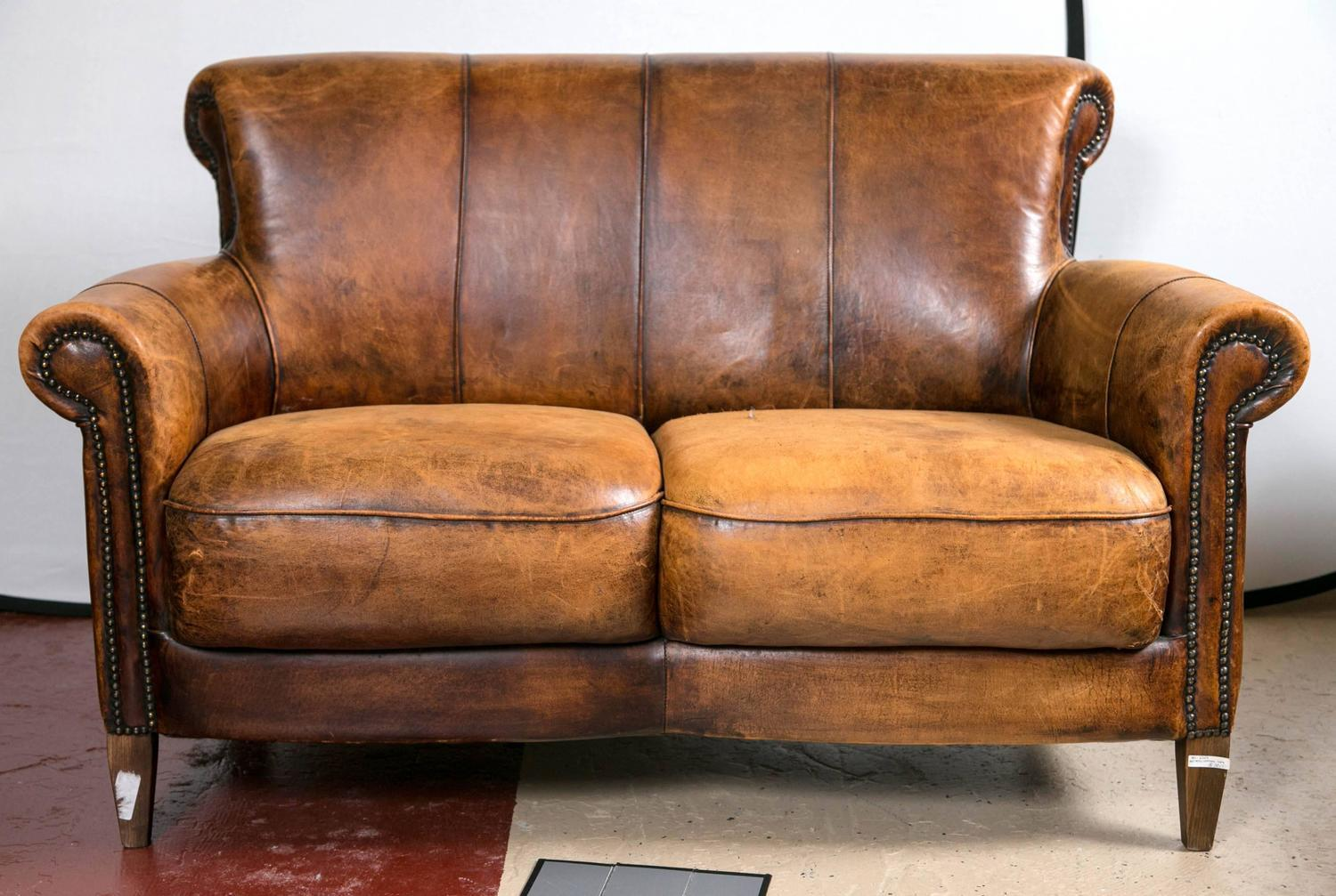 Vintage French Distressed Art Deco Leather Sofa : Chairish