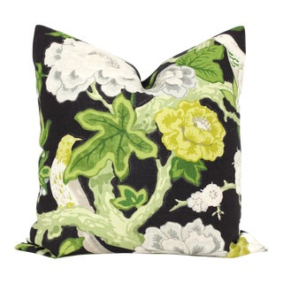 "20"" x 20"" Bermuda Blossoms by Mary McDonald for Schumacher Ebony Decorative Pillow Cover"
