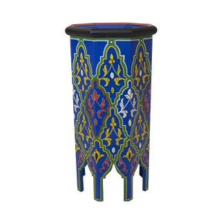 Blue Dari Hand-Painted Side Table