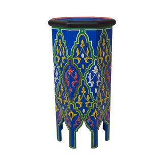 Blue Dari Hand-Painted Side Table