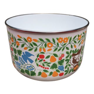 Colorfully Decorated Enamelware Bowl