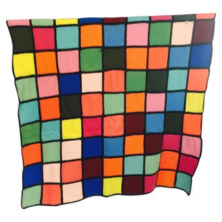 Vintage Hand Knit Color-Blocked Wool Throw