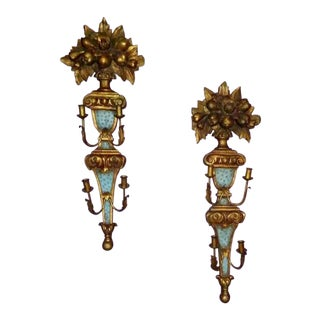 Antique Italian Wood Tole Wall Sconces - a Pair