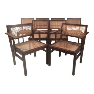 Set of 8 Oak and Caned Bauhaus Dining Chairs