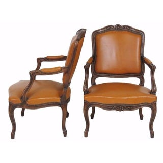 Louis XVI Carved Walnut Fauteuils - Pair