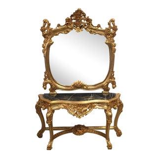Gilt Rococo Marble Console & Mirror