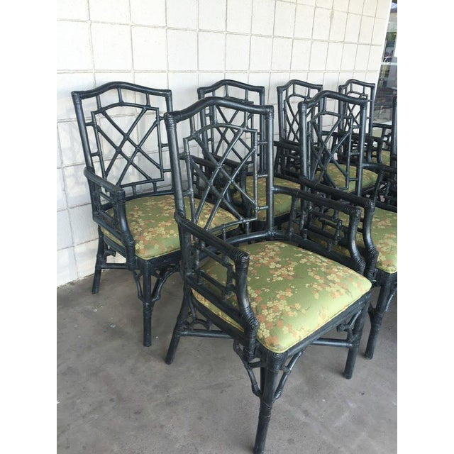 McGuire Chinese Chippendale Chairs - Set of 8 - Image 3 of 4