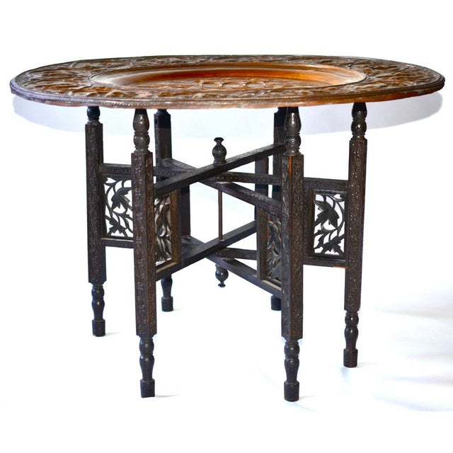 Image of Anglo-Indian Copper Tray Table With Folding Wooden