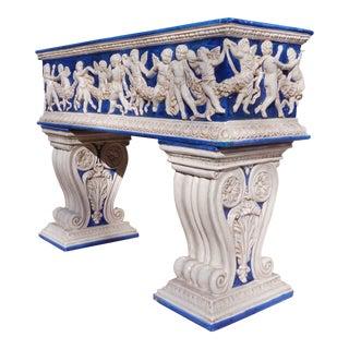 Monumental Italian Majolica Terracotta Pedestal Planter
