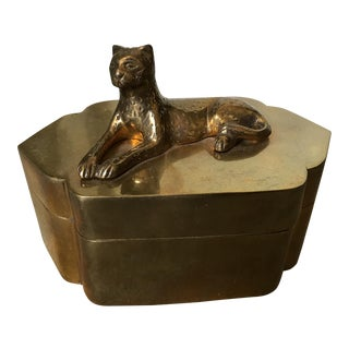 Solid Brass Box with Leopard Model