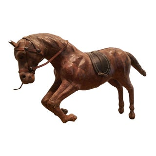 Artisan Crafted Leather Horse Sculpture