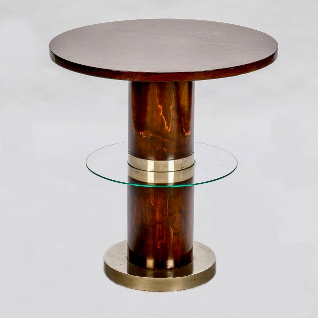 French Art Deco Macassar and Glass Table with Chrome Base - Image 3 of 7