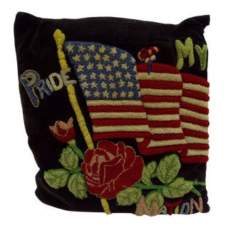 """Vintage """"Pride My Nation"""" American Flag Pillow"""