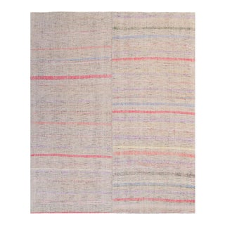 Vintage Turkish Striped Rag Rug - 7′8″ × 9′11″