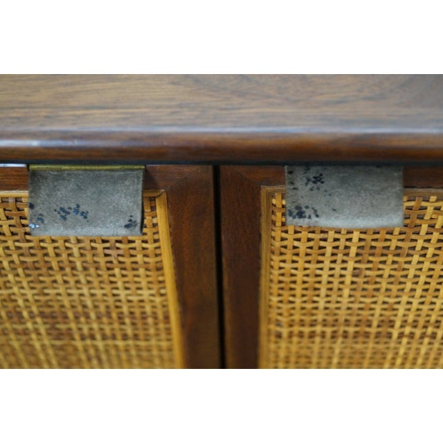 Mid-Century Modern Walnut Cane Door Credenza WithDrawers