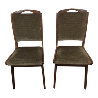 Green Velvet Upholstered Mid Century Modern Chairs - a Pair