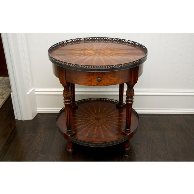 Round End Table With Inlay & Decorative Metal Edge - Image 3 of 5