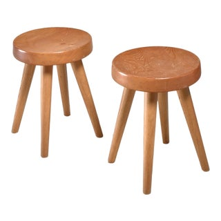 Charlotte Perriand Pair of Four-Legged Stools, France, 1960s