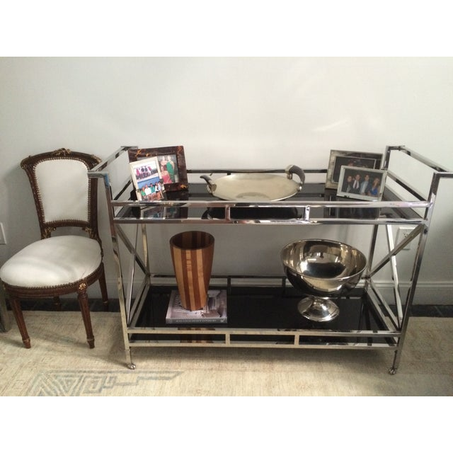 Silver and Black Glass Contemporary Console Table - Image 5 of 5