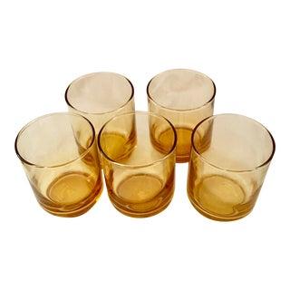 Vintage Amber Rocks Glasses - Set of 5