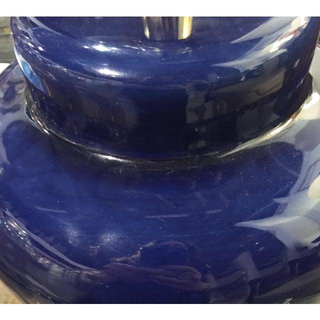 Mid Century Cobalt Blue Ceramic Lamp - Image 4 of 8