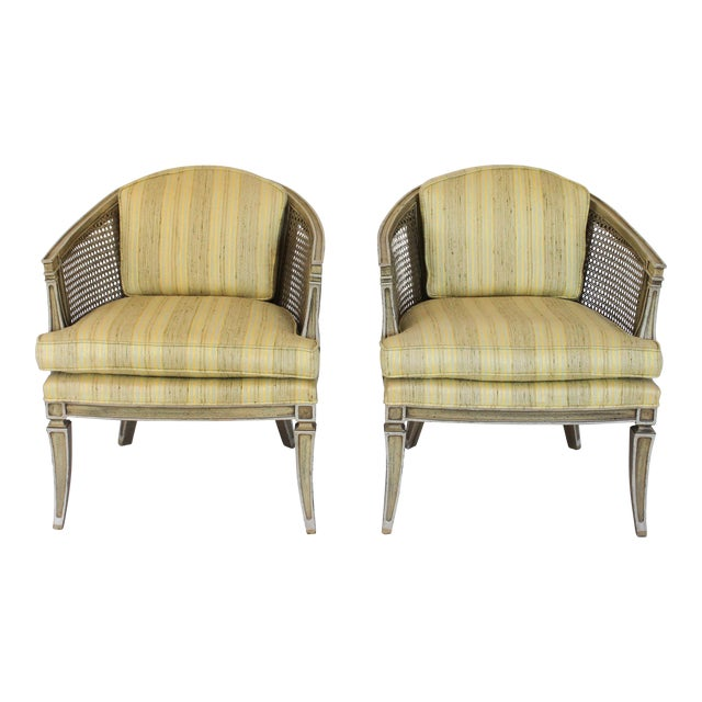 Caned Barrel Chairs - A Pair - Image 1 of 11