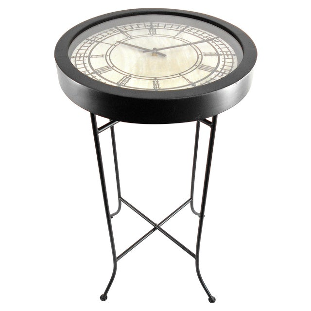 Black Quartz Clock End Table Chairish