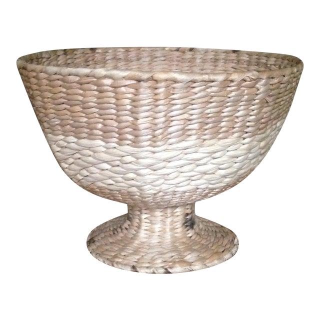 Vintage Natural Straw Pedestal Bowl - Image 1 of 11